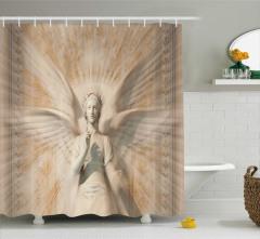 Heykel Desenli Duş Perdesi Melek Sanat Antik
