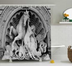 Heykel Desenli Duş Perdesi Antik Sanat Eseri