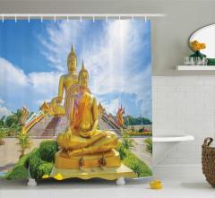 Hindistan Temalı Duş Perdesi Buda Heykeli Gökyüzü