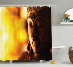 Buda Heykeli Desenli Duş Perdesi Sarı Buda
