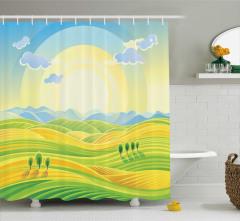 Çocuklar için Duş Perdesi Gün Doğumu Sarı Yeşil Mavi