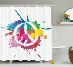 Rengarenk Barış Temalı Duş Perdesi Sulu Boya