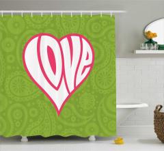 Sevgililer İçin Duş Perdesi Aşk Temalı Kalpli