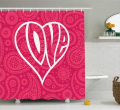 Aşk Temalı Duş Perdesi Kalpli Kırmızı Romantik
