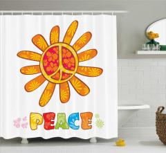 Turuncu Çiçekli Duş Perdesi Barış Temalı Şık