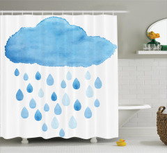 Mavi Bulut Desenli Duş Perdesi Yağmur Damla