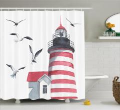 Deniz Feneri ve Kuş Desenli Duş Perdesi Trend