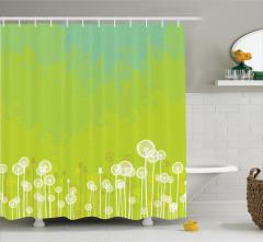 Çiçek Desenli Duş Perdesi Yeşil Şık Tasarım