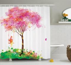 Salıncaktaki Kız Temalı Duş Perdesi Bahar Ağaç