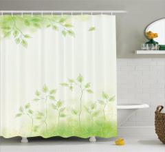 Bahar Temalı Duş Perdesi Yeşil Yaprak Çeyizlik