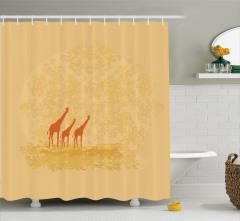 Afrika Temalı Duş Perdesi Zürafa Ağaç Turuncu