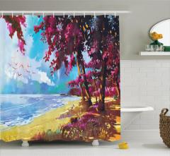 Plaj ve Ağaç Desenli Duş Perdesi Pembe Mavi
