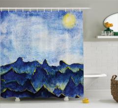 Mavi Tepe Desenli Duş Perdesi Gökyüzü Doğa