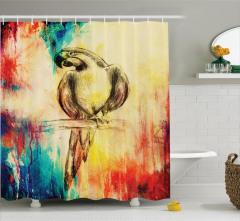 Rengarenk Papağan Temalı Duş Perdesi Nostaljik
