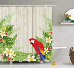 Çiçek ve Papağan Desenli Duş Perdesi Kırmızı