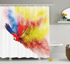 Gökkuşağı Desenli Duş Perdesi Papağan Trend