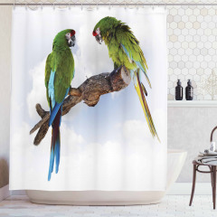 Yeşil Papağan Desenli Duş Perdesi Şık Tasarım