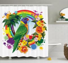 Gökkuşağı Temalı Duş Perdesi Çiçek Papağan