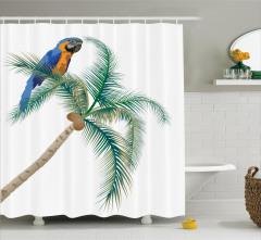 Palmiyedeki Papağan Desenli Duş Perdesi Yeşil