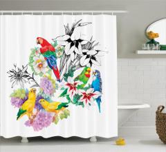 Papağan Desenli Duş Perdesi Rengarenk Şık