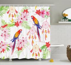 Papağan ve Çiçek Desenli Duş Perdesi Rengarenk