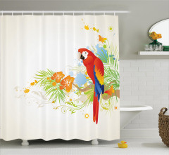 Kırmızı Papağan Desenli Duş Perdesi Trend Şık