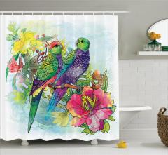 Mor Papağan Desenli Duş Perdesi Çiçekli Şık