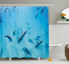 Sualtı Yaşam Temalı Duş Perdesi Köpek Balıkları Mavi