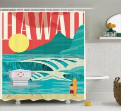 Hawai Temalı Duş Perdesi Okyanus Sörf Egzotik Tatil