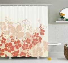 Tropik Çiçek Desenli Duş Perdesi Bej Turuncu Beyaz