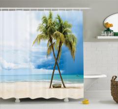 Tropik Ada Desenli Duş Perdesi Kumsal Mavi Yeşil