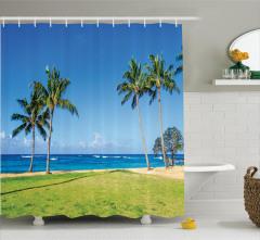Tropik Ada Desenli Duş Perdesi Palmiye Ağaçları Mavi