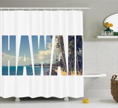 Hawai Temalı Duş Perdesi Tropik Ada Egzotik Deniz