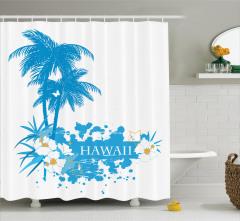 Hawai Temalı Duş Perdesi Tropik Ada Egzotik Mavi