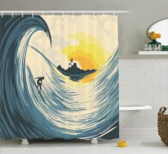 Sörf Temalı Duş Perdesi Tropikal Adada Gün Batımı