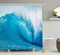 Turkuaz Duş Perdesi Okyanus Dalgaları Sörf Mavi