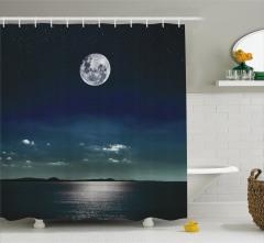 Ay Işığında Deniz Manzaralı Duş Perdesi Siyah