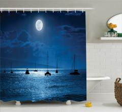 Lacivert Duş Perdesi Ay Işığında Yolculuk Temalı