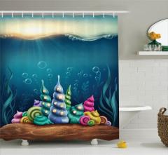 Sualtı Yaşam Temalı Duş Perdesi Deniz Kabuğu Mavi