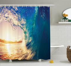 Okyanus Dalgaları Temalı Duş Perdesi Gün Doğumu Sörf