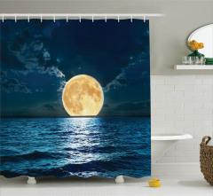 Dolunayda Deniz Manzaralı Duş Perdesi Romantik