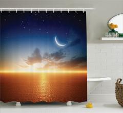 Doğa Manzaralı Duş Perdesi Gün Batımı Ay Yıldızlar