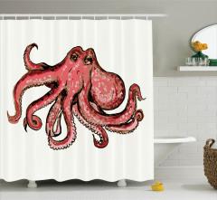 Ahtapot Desenli Duş Perdesi Kırmızı Bej Pembe