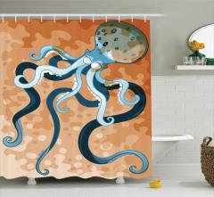 Çocuklar için Duş Perdesi Ahtapot Desenli Turuncu