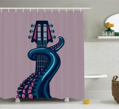 Mor Duş Perdesi Gitarist Ahtapot Desenli Müzik