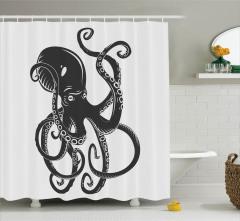 Ahtapot Desenli Duş Perdesi Siyah Beyaz Modern Sanat