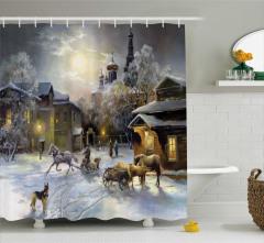 Yağlı Boya Resmi Etkili Duş Perdesi Kış Mevsimi
