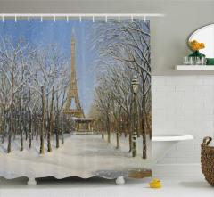 Yağlı Boya Resmi Etkili Duş Perdesi Eyfel Kulesi