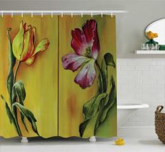 Yağlı Boya Resmi Etkili Duş Perdesi Çiçek Desenli