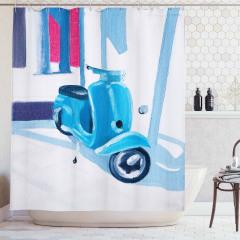 Yağlı Boya Resmi Etkili Duş Perdesi Mavi Motosiklet